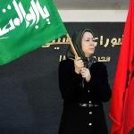 مریم رجوی با پرچم حسینی