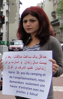 Horrieh Mohammadi Piketing in Paris to save her sister from the terrorist Cult