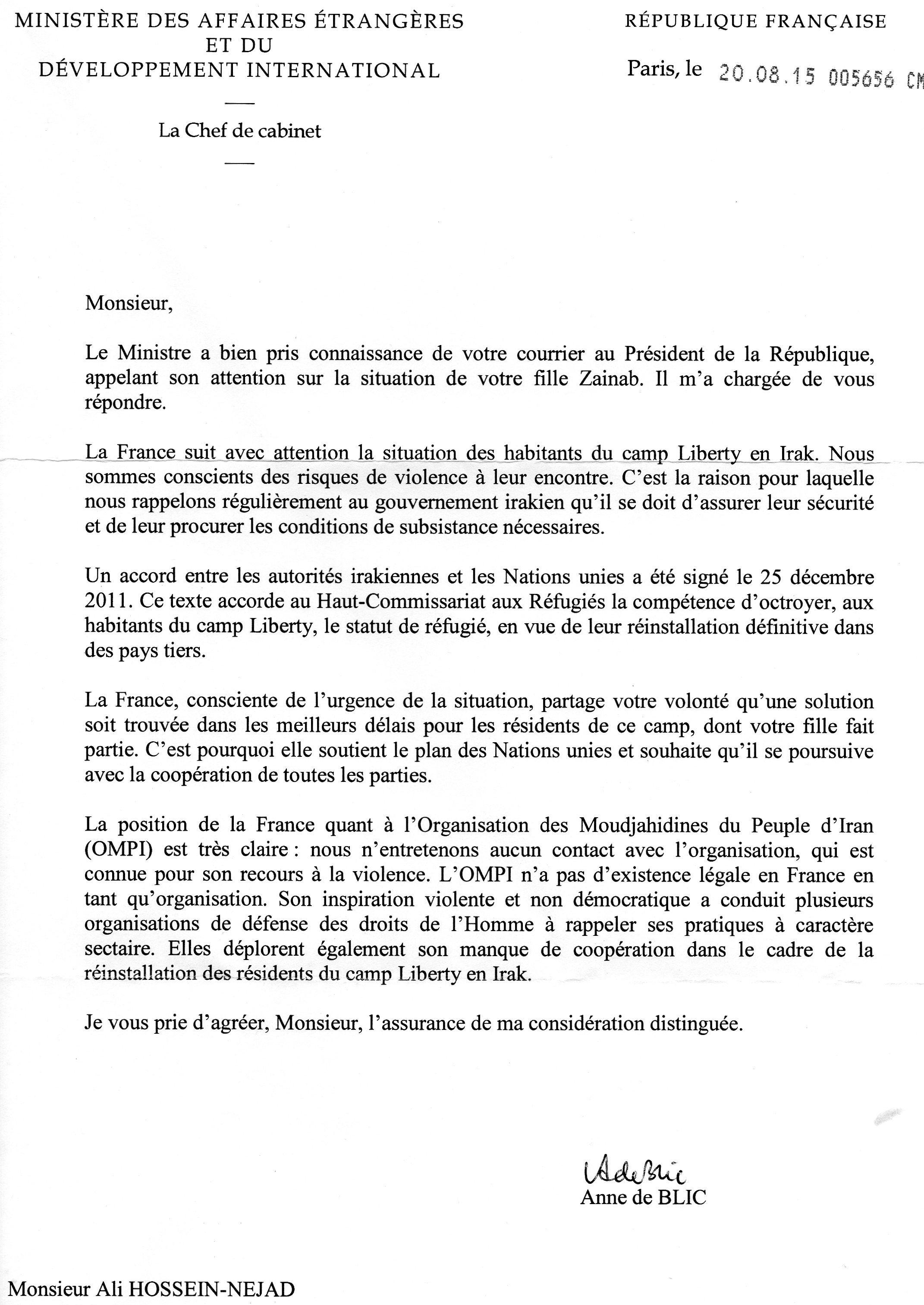 نظر وزارت خارجه فرانسه نسبت به فرقه