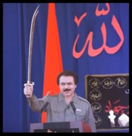 مسعود رجوی با شمشیر