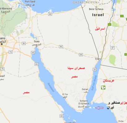 نقشه جزایر تیران و صنافیر