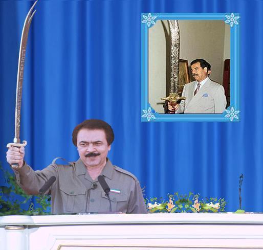 رهبر عقیدتی مسعودرجوی صدام حسین و کپی برداری از او